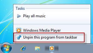Taskbar windows 7 unpin