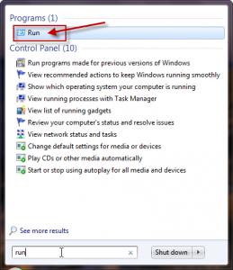 Windows 7 Run