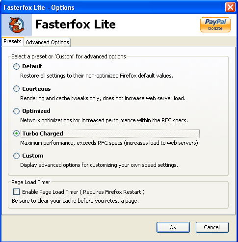 fASTERFOX LITE default option turbocharge