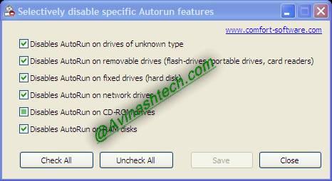 Disable Autorun: selectively or completely disable all Autoruns 1