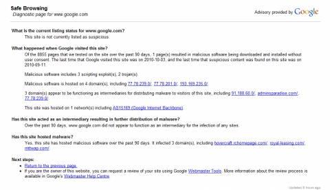 Google safe browsing says Google.com is risky 1