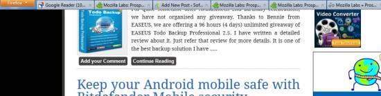 Hide Firefox toolbars, address bar navigation with Prospector - LessChrome HD 2