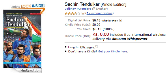 Sachin Tendulkar free Kindle edition