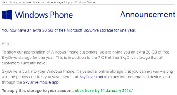 Skydrive storage 20 gb