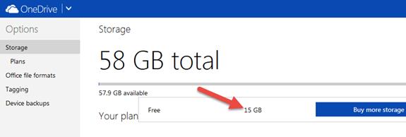 OneDrive 15gb